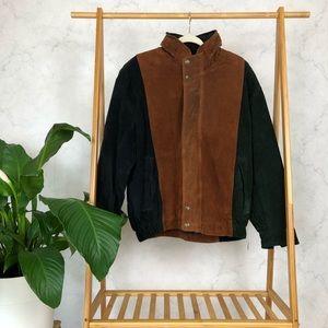 Vintage Brown Color Block Suede Bomber Jacket NWT